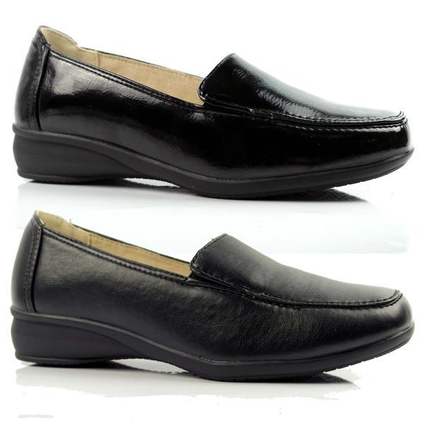 Genuine Grip Women Slip-Resistant Blucher Work Shoes #720 Black Leather
